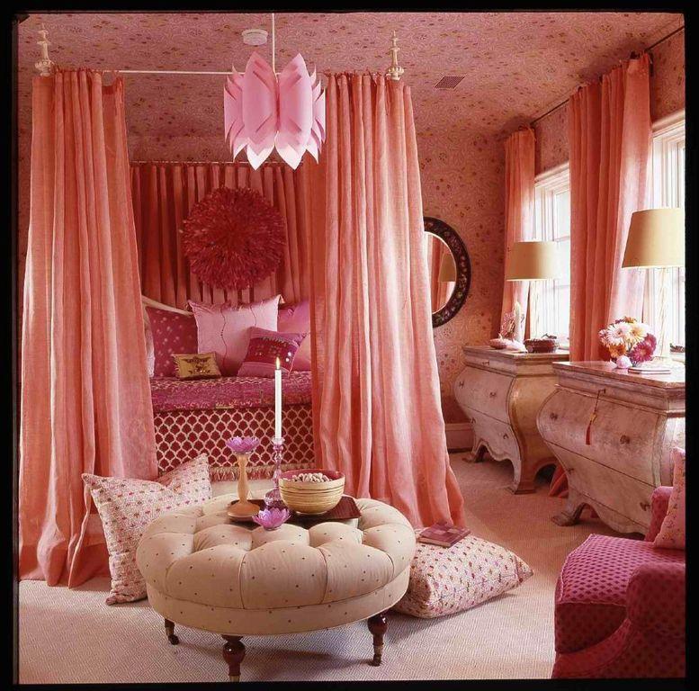 Eclectic Master Bedroom with interior wallpaper, Casement, Chandelier, Standard height, Carpet