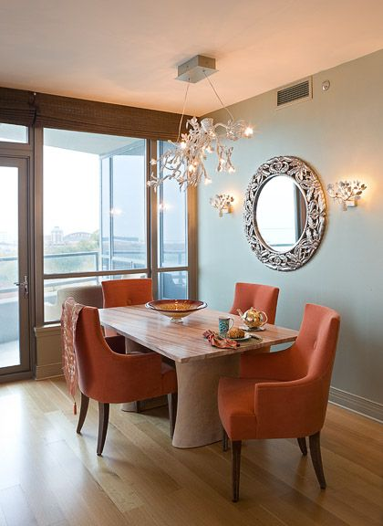 Eclectic Dining Room with Paint 1, Wall sconce, picture window, French doors, Hardwood floors, Chandelier, Transom window