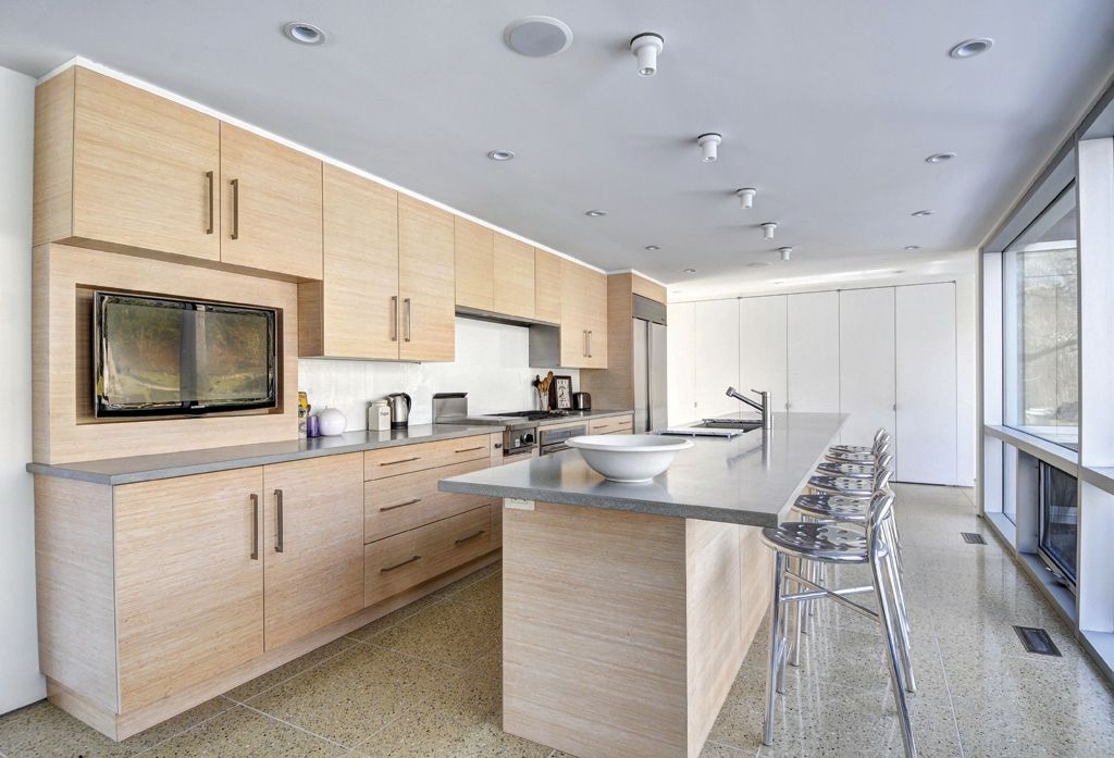 Contemporary Kitchen with picture window, Standard height, Paint 1, wall oven, Pental Quartz Avalon BQ8618, stone tile floors