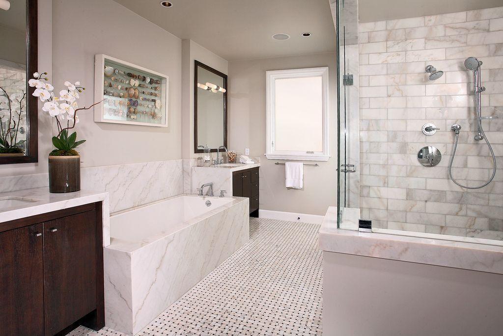 Contemporary Full Bathroom with frameless showerdoor, European Cabinets, Paint, Interlocking Pavers, Shower, Bathtub, Flush