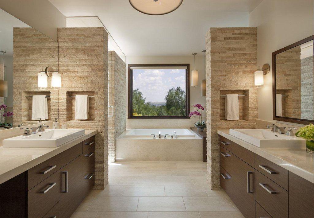 Contemporary Master Bathroom with Kohler tresham drop-in sink, Paint