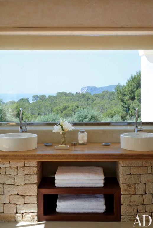 Rustic Master Bathroom with Makro Surface Mount Cup Washbasin, Master bathroom, Wood counters, Vessel sink, Double sink