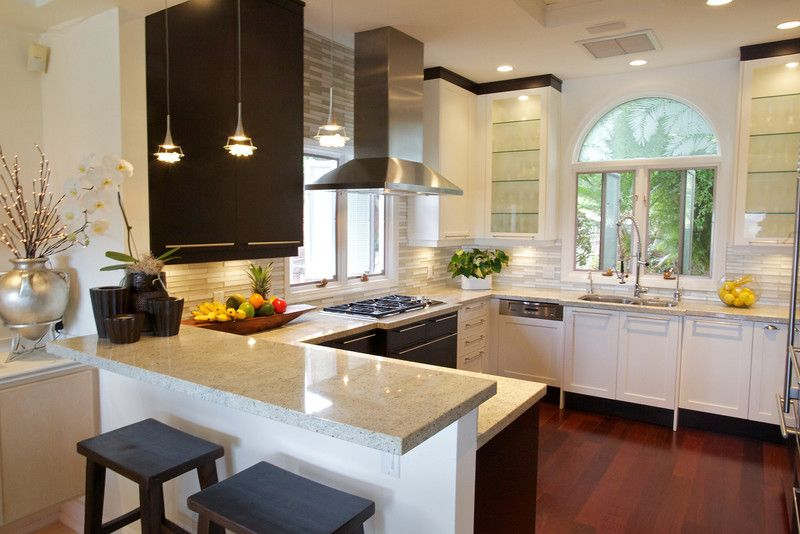 Contemporary Kitchen with Breakfast bar, Casement, Flat panel cabinets, Arched window, Pendant light, European Cabinets
