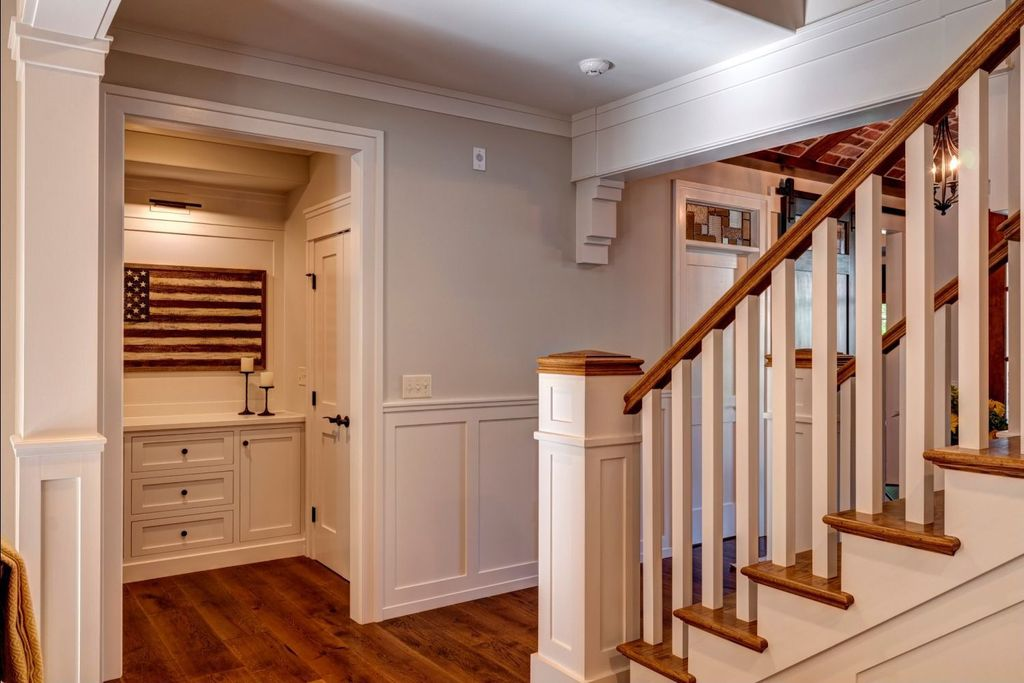 Traditional Entryway with Wainscotting, Hickory - Apple Cinnamon 5 in. Engineered Hardwood Wide Plank, Standard height, Paint