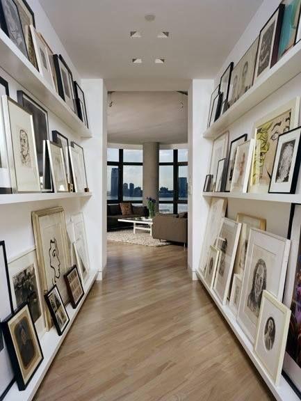 Contemporary Hallway with can lights, flush light, Standard height, Laminate floors, Built-in bookshelf