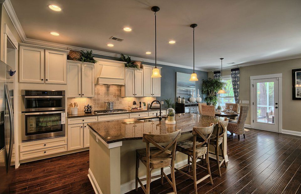 Traditional Kitchen with double wall oven, Pendant light, Breakfast nook, Freestanding Full Size Top Freezer Refrigerator