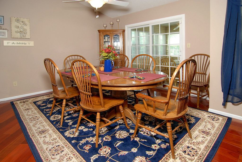 Traditional Dining Room With Flush Light Ceiling Fan In Saint Charles