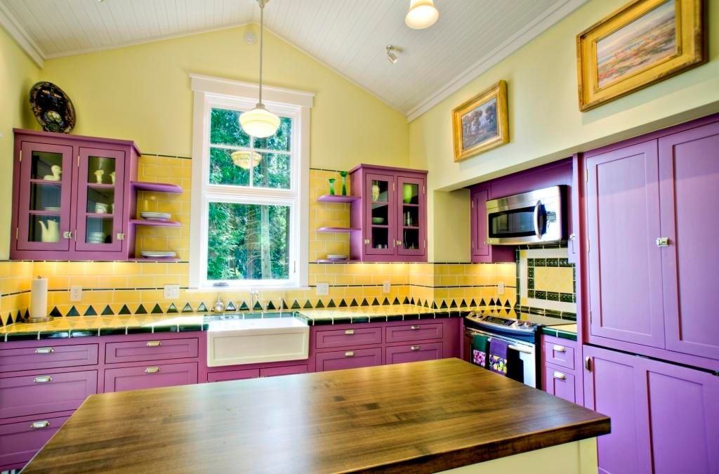 Eclectic Kitchen with Paint 2, electric range, full backsplash, Pendant light, Open shelving, Paint 3, Farmhouse sink