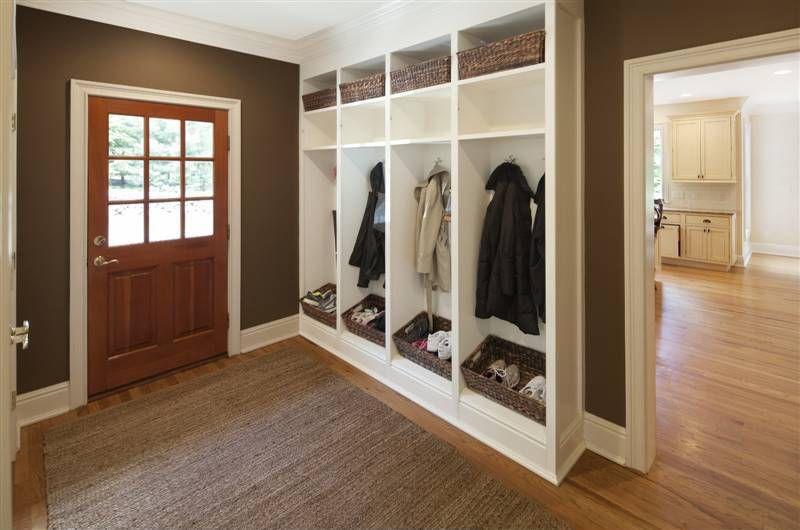 Craftsman Mud Room with Glass panel door, Hardwood floors, Paint, Standard height, Built-in bookshelf, Crown molding