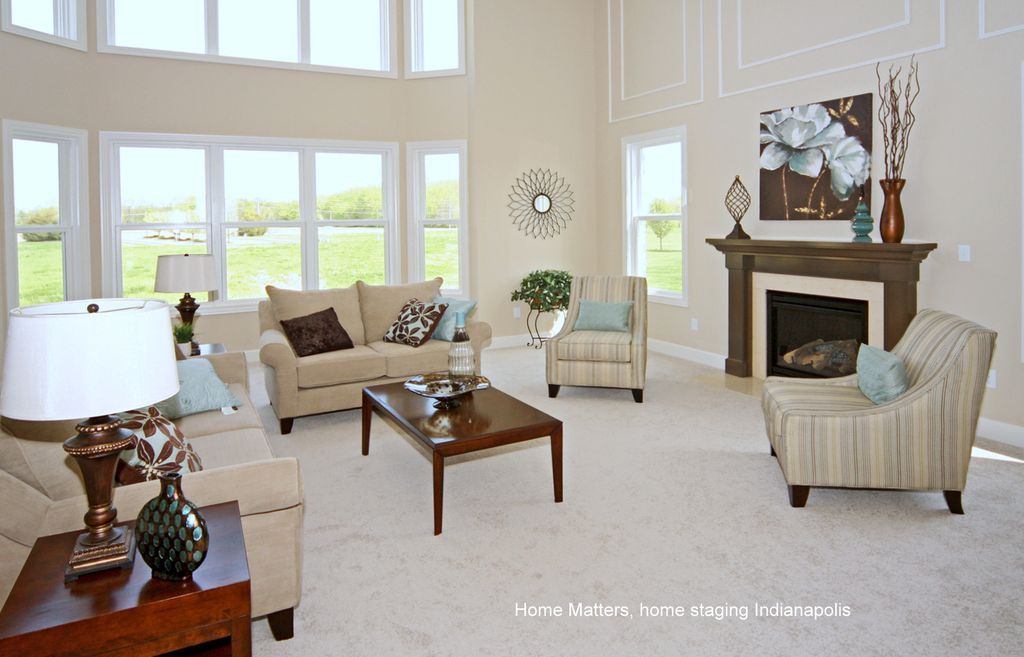 Traditional Living Room with High ceiling, Fireplace, double-hung window, insert fireplace, Carpet