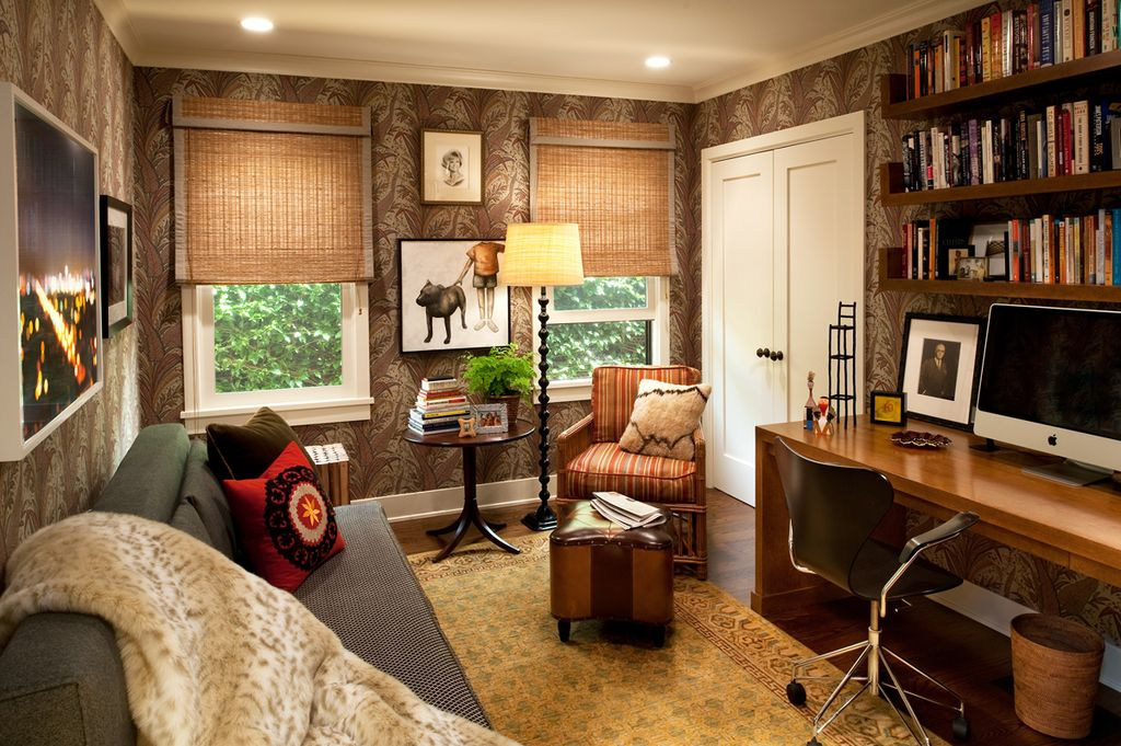 Eclectic Home Office with Built-in bookshelf, can lights, double-hung window, Crown molding, Hardwood floors, French doors