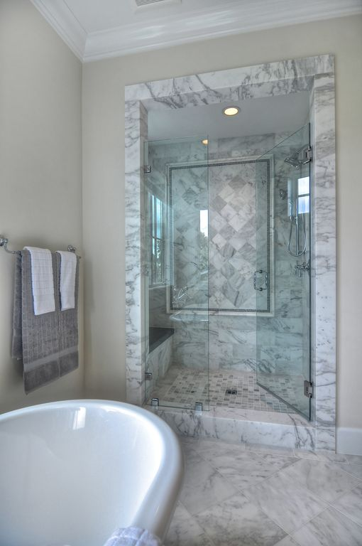 Traditional Master Bathroom with Master bathroom, can lights, Shower, stone tile floors, 12x12 marble tile (Greecian White)