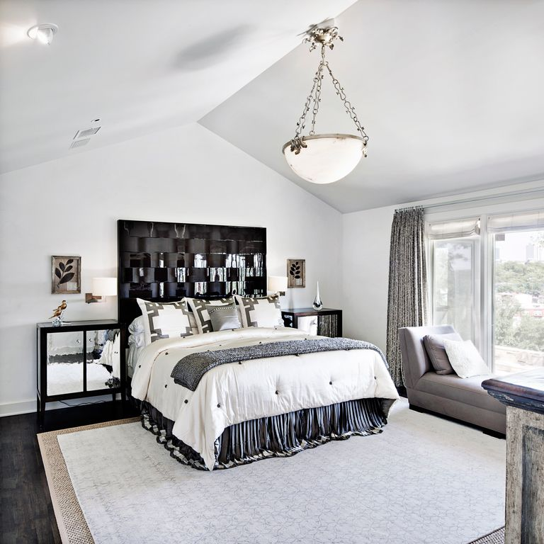 Contemporary Master Bedroom with Standard height, Casement, Hardwood floors, can lights, Pendant light