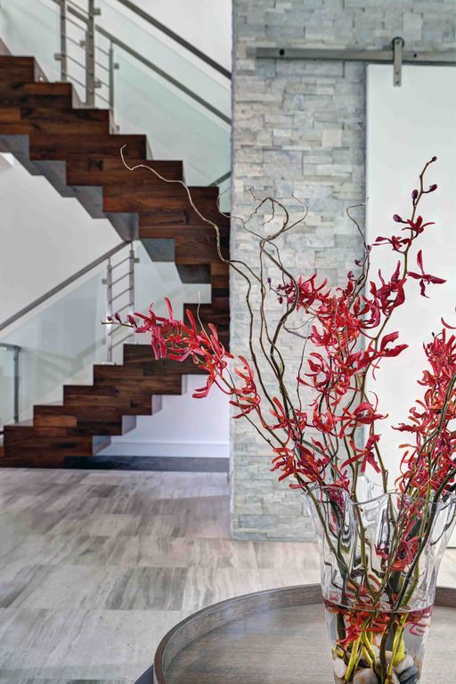 Contemporary Entryway with Hom Com Interior Sliding Barn Door, Paint