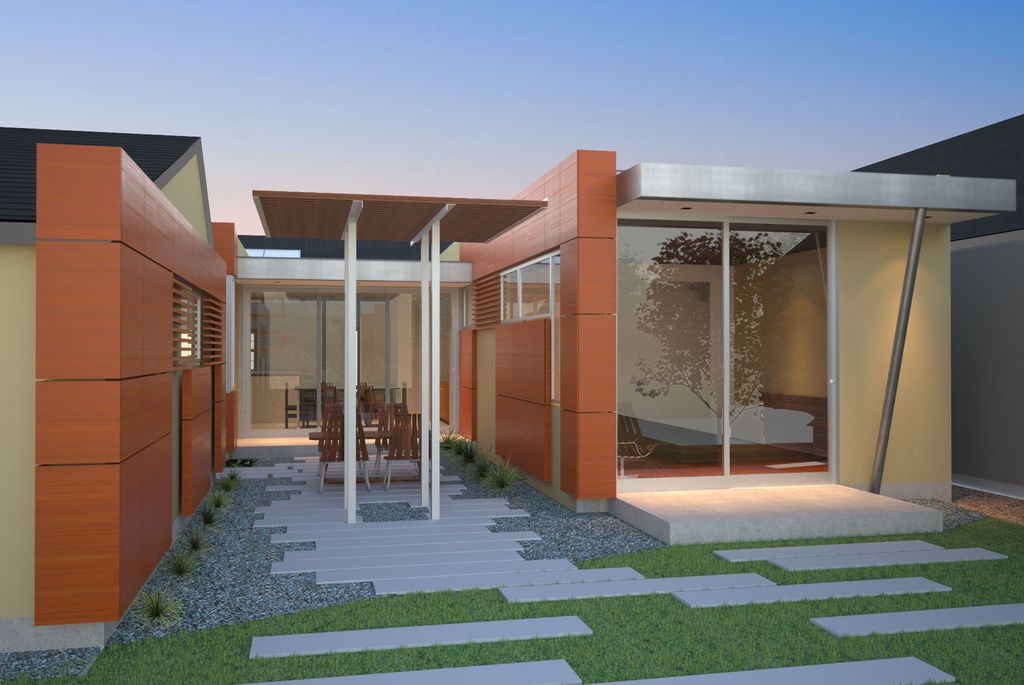 Contemporary Patio with sliding glass door, picture window, exterior tile floors, Pathway, exterior concrete tile floors