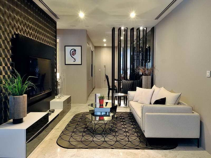 Contemporary Living Room with interior wallpaper, simple marble floors, can lights, Built-in bookshelf, Standard height