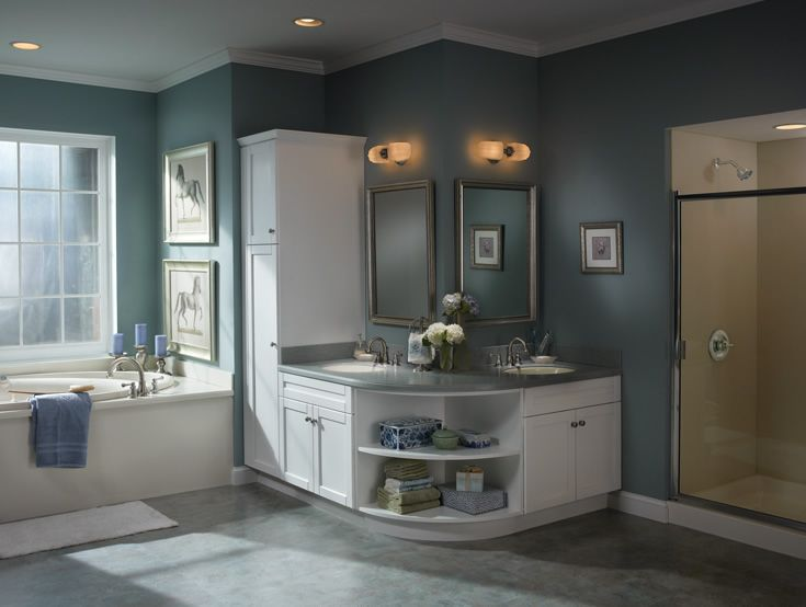 Traditional Master Bathroom with Undermount sink, Flush, partial backsplash, picture window, Flat panel cabinets, Bathtub