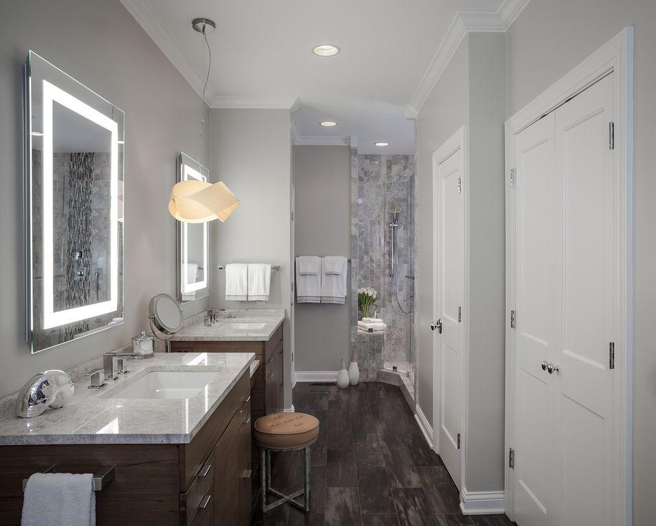 Contemporary Master Bathroom with Double sink, European Cabinets, Quartz, Shower, frameless showerdoor, Hardwood floors