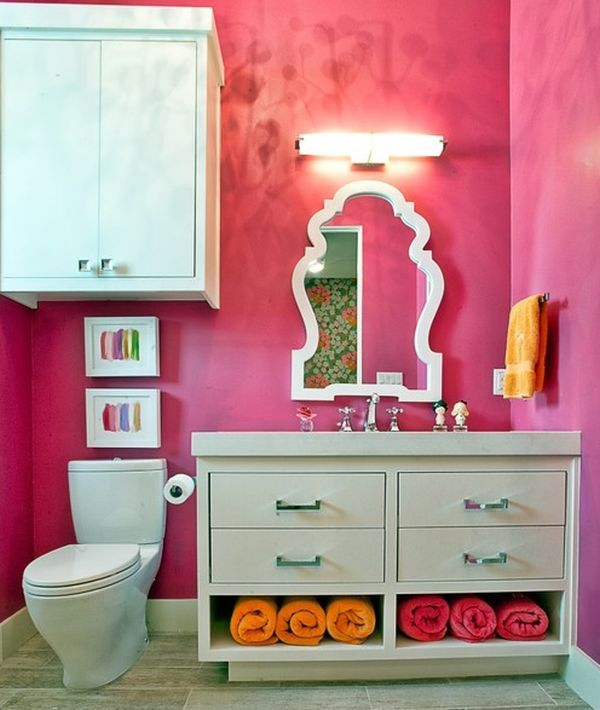 Contemporary Powder Room with Flush, Corian counters, Pottery barn teen scallop framed mirror, European Cabinets