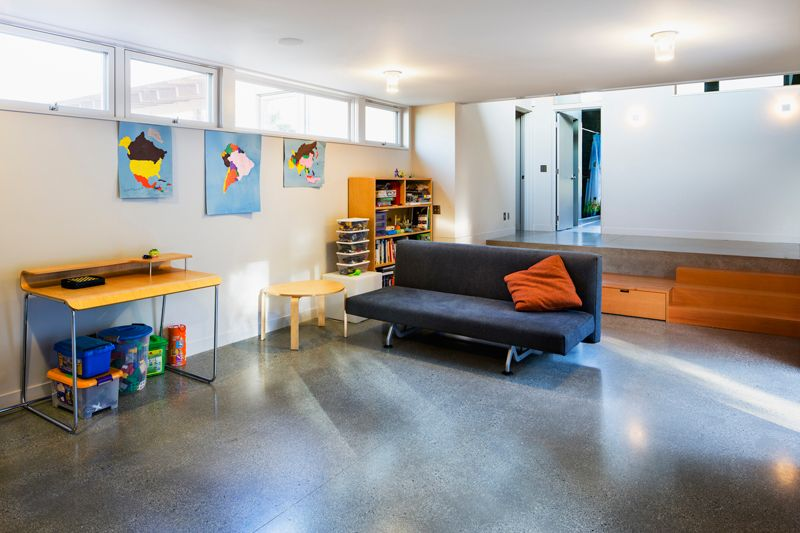 Contemporary Playroom with Casement, Standard height, simple granite floors, flush light