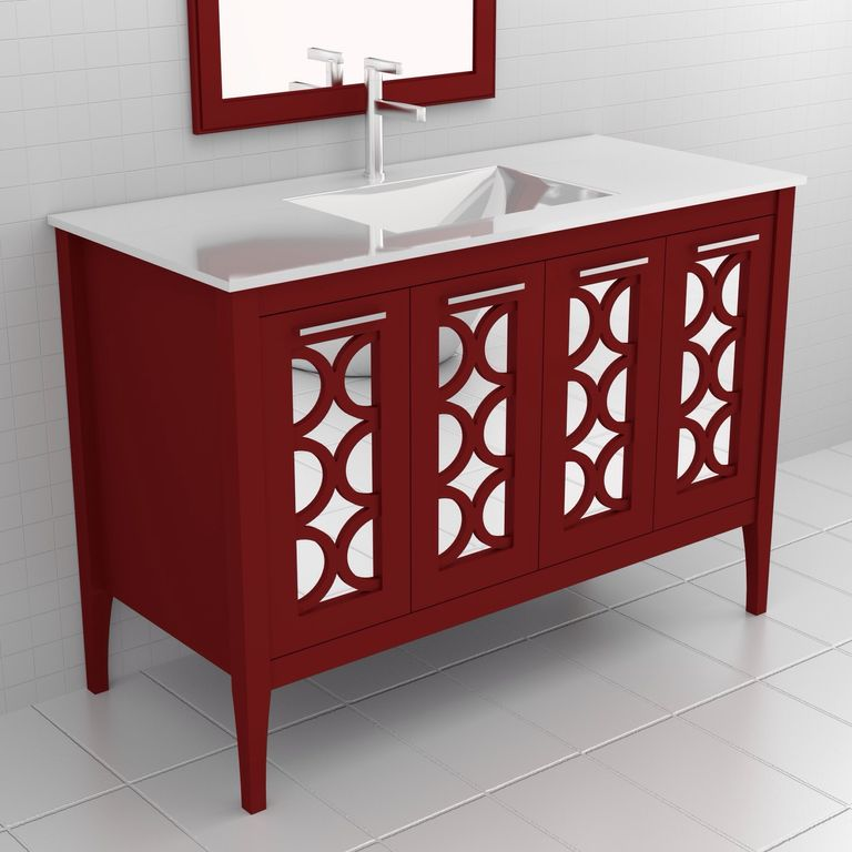 Contemporary Full Bathroom with Signature stephen vanity china red, Elitetile retro porcelain glazed mosaic in matte white
