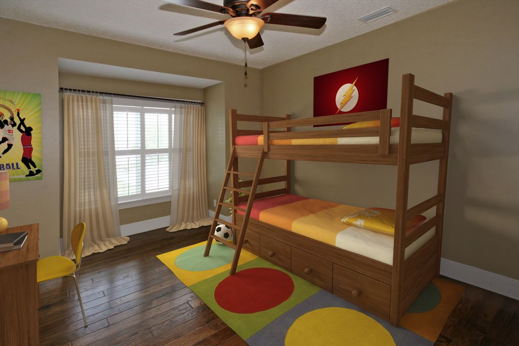 Modern Kids Bedroom with Hardwood floors, Casement, flush light, Standard height, Ceiling fan, Bunk beds