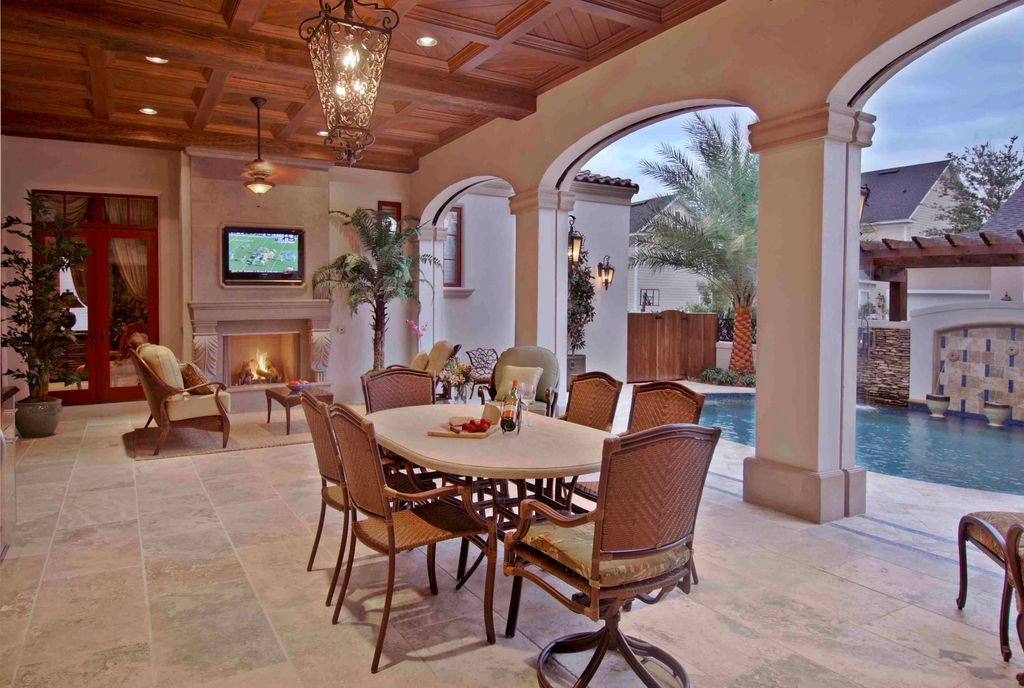 Mediterranean Porch with Trellis, Fountain, Casement, Other Pool Type, exterior stone floors, French doors, Screened porch