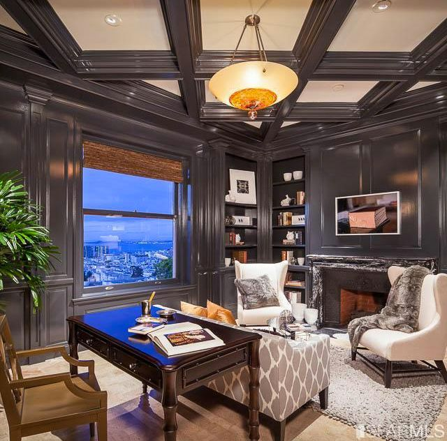 Traditional Home Office with Built-in bookshelf, Paint, Box ceiling, Paint 1, Lacquered wood panels, insert fireplace