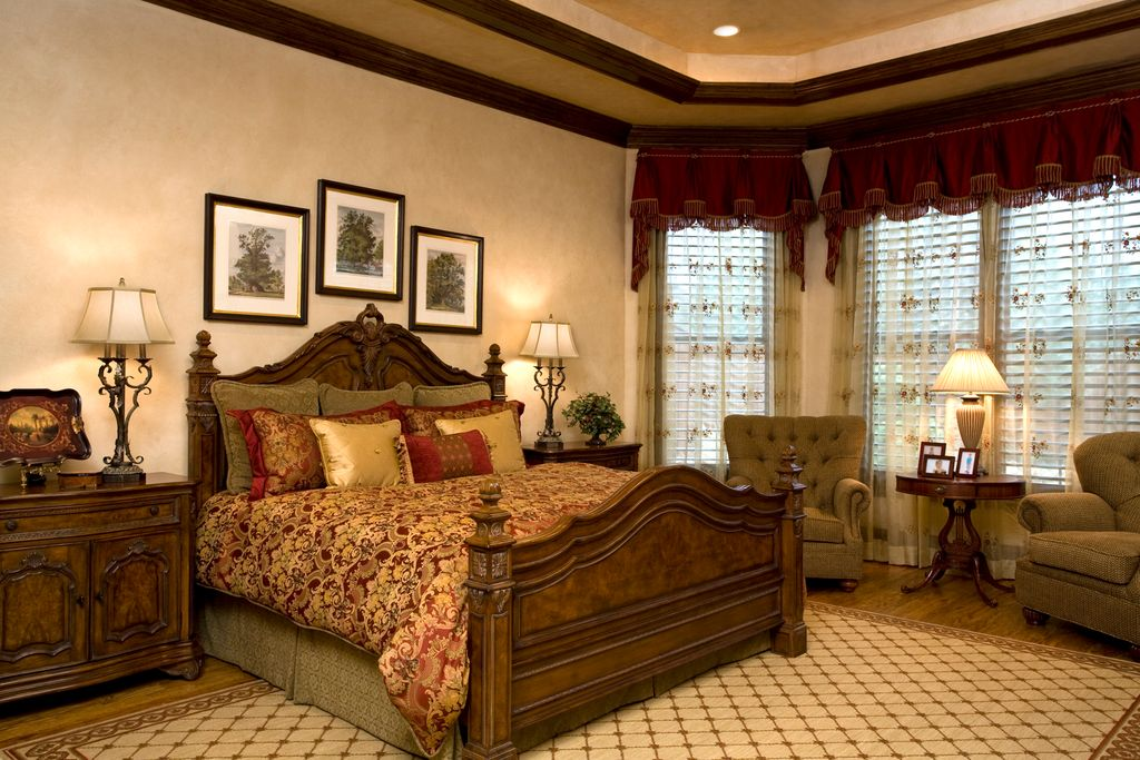 Mediterranean Master Bedroom with High ceiling, Hardwood floors, Crown molding, can lights, double-hung window