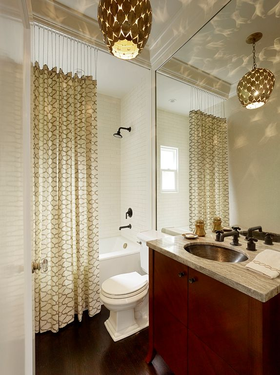 Contemporary Full Bathroom with Undermount sink, tiled wall showerbath, Standard height, Hardwood floors, shower bath combo