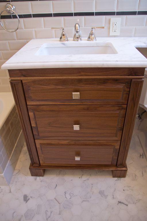 Traditional Full Bathroom with Bathtub, Flush, Full Bath, penny tile floors, Standard height, Undermount sink, Wall Tiles