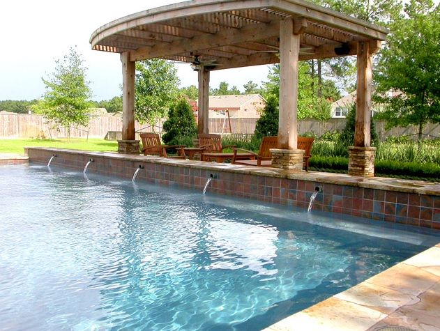 Traditional Swimming Pool with Trellis, Fountain, Fence