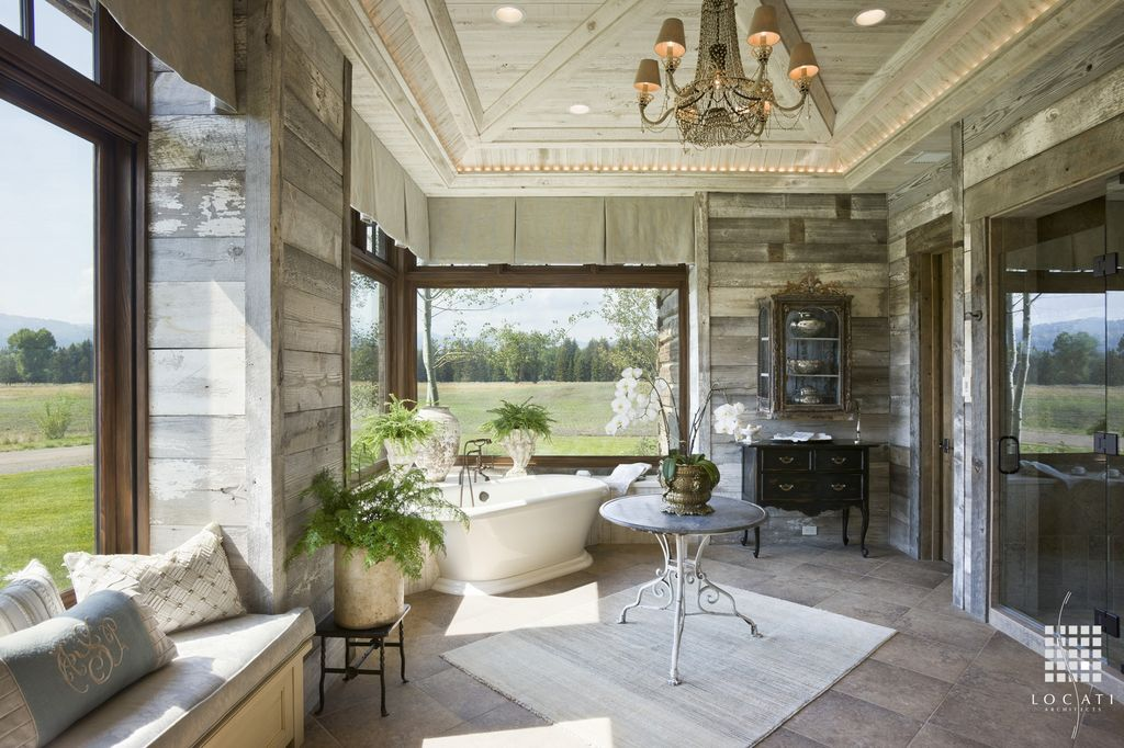 Chandelier, Country, Eclectic, Frameless, Free Standing, Master, Normal (2.7m), Window seat