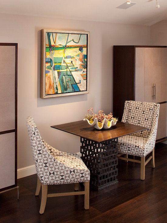 Contemporary Living Room with Built-in bookshelf, Hardwood floors, flush light, Standard height