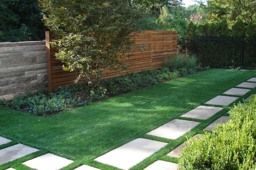 Modern Landscape/Yard with Fence, exterior tile floors, Pathway, exterior concrete tile floors