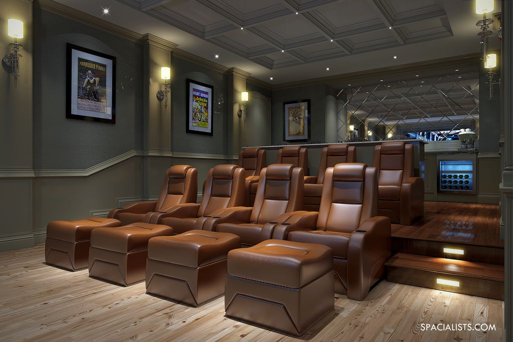 Traditional Home Theater with Box ceiling, Hardwood floors, Wall sconce, Standard height, Crown molding, can lights, Paint