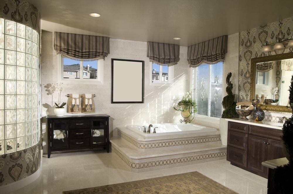 Traditional Master Bathroom with Wall Tiles, interior wallpaper, picture window, Ceramic Tile, Paint 1, drop in bathtub