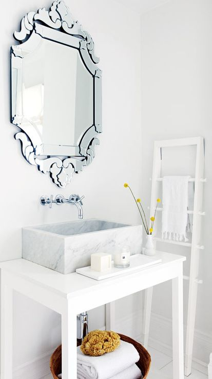 Contemporary Powder Room with Powder room, Wall mount faucet, Cooper Classics St. George Wall Mirror - 27.5W x 47.5H in.
