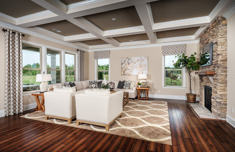Transitional Living Room With Box Ceiling amp Metal
