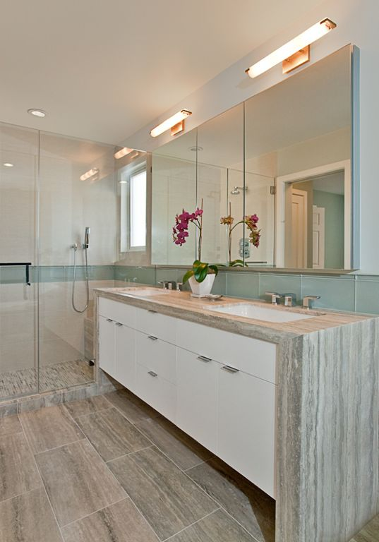 Contemporary Master Bathroom with can lights, Handheld showerhead, Double sink, full backsplash, Shower, Large Ceramic Tile