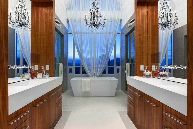 Contemporary Master Bathroom with Chandelier, Quartz counters, Randolph Morris 66 Inch Double Ended Pedestal Tub, Paint 1