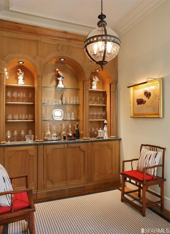 Traditional Bar with Standard height, Built-in bookshelf, Hardwood floors, can lights, Wall sconce, Chandelier