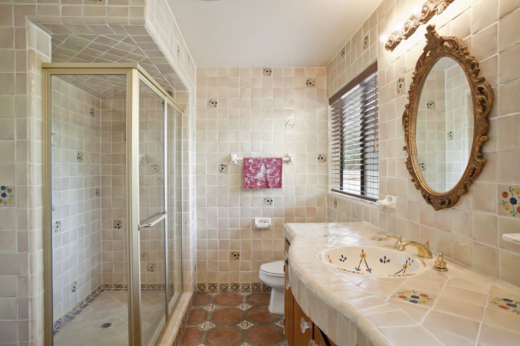 Eclectic Full Bathroom with wall-mounted above mirror bathroom light, three quarter bath, Mural, Wall Tiles, Casement, Shower
