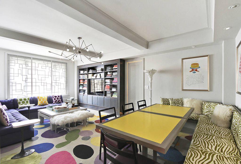 Contemporary Great Room with Built-in bookshelf, can lights, specialty door, Standard height, Chandelier, specialty window