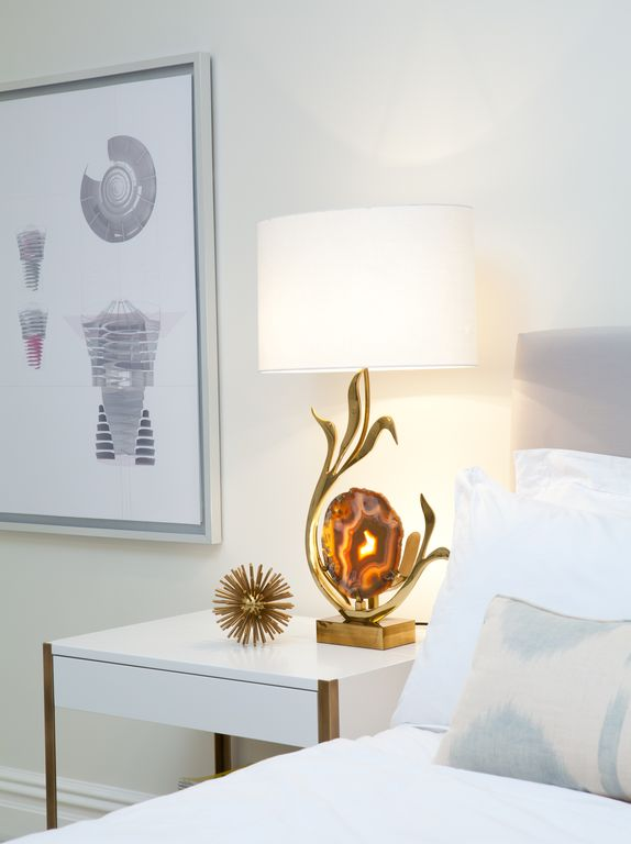 Contemporary Master Bedroom with Willy daro: bronze and agate sculptural lamp