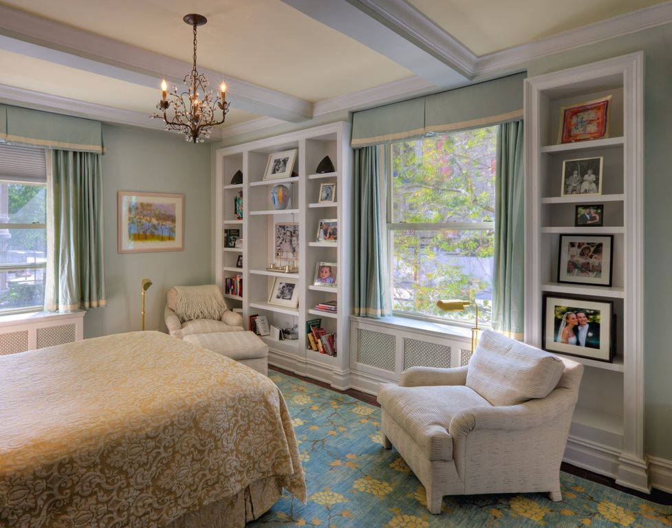 Traditional Master Bedroom with Box ceiling, Built-in bookshelf, double-hung window, Crown molding, Window seat, Chandelier