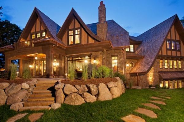 Craftsman Exterior of Home with Transom window, Pathway, exterior stone floors, French doors