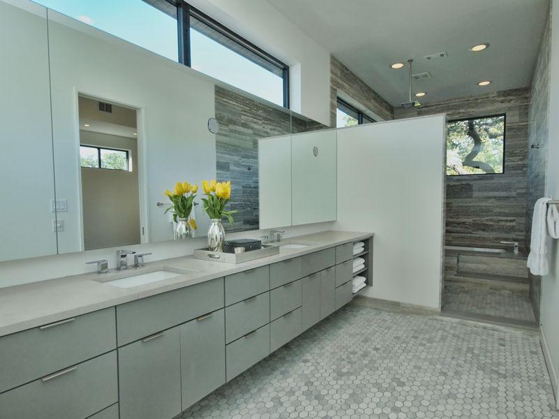 Contemporary Master Bathroom with Master bathroom, Flush, drop in bathtub, Shower, no showerdoor, Bathtub, European Cabinets