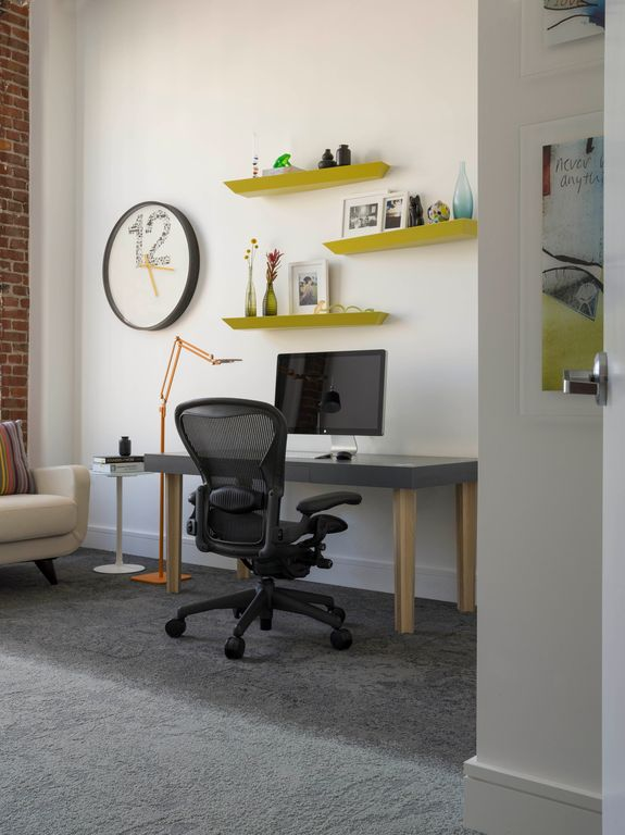 Modern Home Office with Floating shelf, Standard height, flat door, interior brick, Room essential  contemporary clock