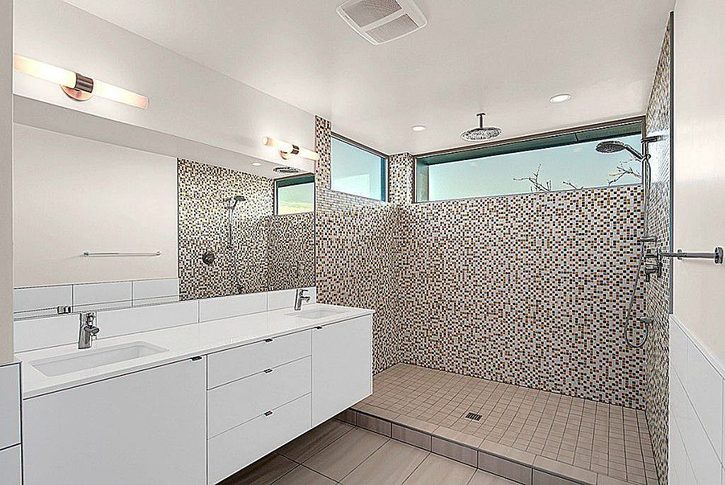 Contemporary 3/4 Bathroom with Rain shower, Double sink, European Cabinets, Corian counters, Wilsonart - coconut oil 9100gs